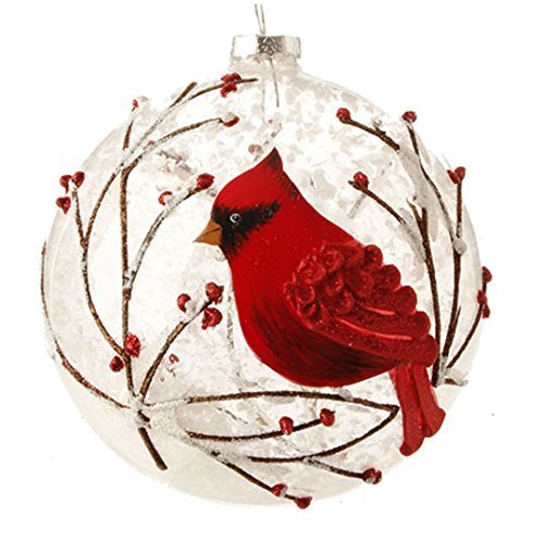 Snowy Red Cardinal & Branches Glass Ball Christmas Tree Ornament, 5 Inches by RAZ Imports -