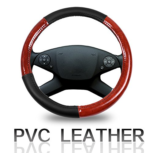 (ECCPP Steering Wheel Cover 15 Inch Universal Leather Car Steering Wheel Cover - Black and Brown Wood Grain)