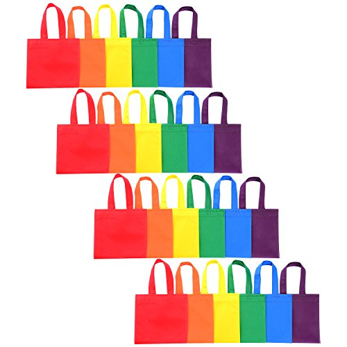 Shappy 24 Pack 6 Colors Party Gift Bags Favor Tote Bags Non-woven Treat Bags with Handles for Christmas Party Favor Gifts, 8 by 8 Inches Party Favor Gift Bags