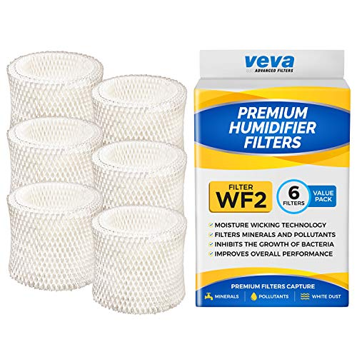 VEVA 6 Pack Premium Humidifier Filters Replacement for Protec, Vicks, Kaz Filter WF2 and V3500, V3100 & 3020 Cool Mist Humidifiers