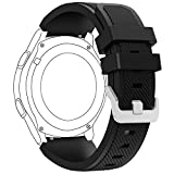Samsung Gear S3 Frontier/ Classic Watch Band, FanTEK 22mm Silicone Replacement Sport Strap with Quick Release Pins for Gear S3 Frontier/ Gear S3 Classic/ Moto 360 2nd Gen 46mm Smart Watch, Black
