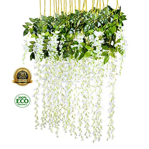 flowers for arch wedding Artificial Fake Wisteria Vine Hanging 12 Pack 3.6FT/pcs, Silk Flower Chain Garland for Outdoor Wedding Ceremony Arch Party Home Garden Decor (White) -