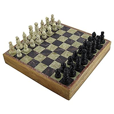 Rajasthan Stone Art Unique Chess Sets and Board -Indian Handmade Unique Gifts -Size 10X10 Inches by ShalinIndia