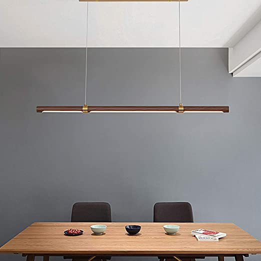 ACHNC LED Lámpara Colgante Salon Madera, Larga Lámpara Colgante Comedor Moderna Luz de Techo Para Oficina Lámpara de Araña Ajustable Lámpara de Suspensión Para Sala de Reuniones Sala de Estudio, Nogal: Amazon.es: