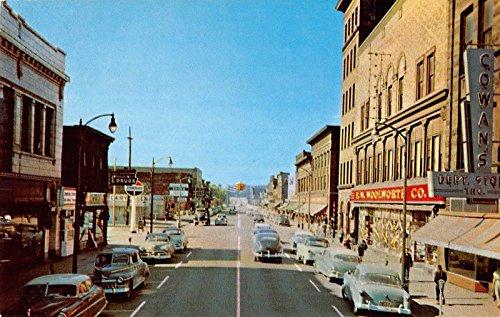 Downtown Street Postcard - Sault Ste. Marie Michigan Ashmun Street Downtown Vintage Postcard V21497