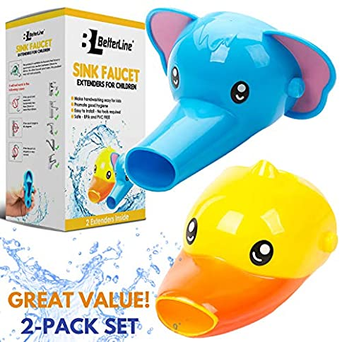 Faucet Extender for Kids - Set of 2 Animal Spout Extenders for Sink Faucets - Hand Washing for Babies, Toddlers & Children (Elephant + Duck) - 51s0Qt9RoAL - Faucet Extender for Kids – Set of 2 Animal Spout Extenders for Sink Faucets – Hand Washing for Babies, Toddlers & Children (Elephant + Duck)