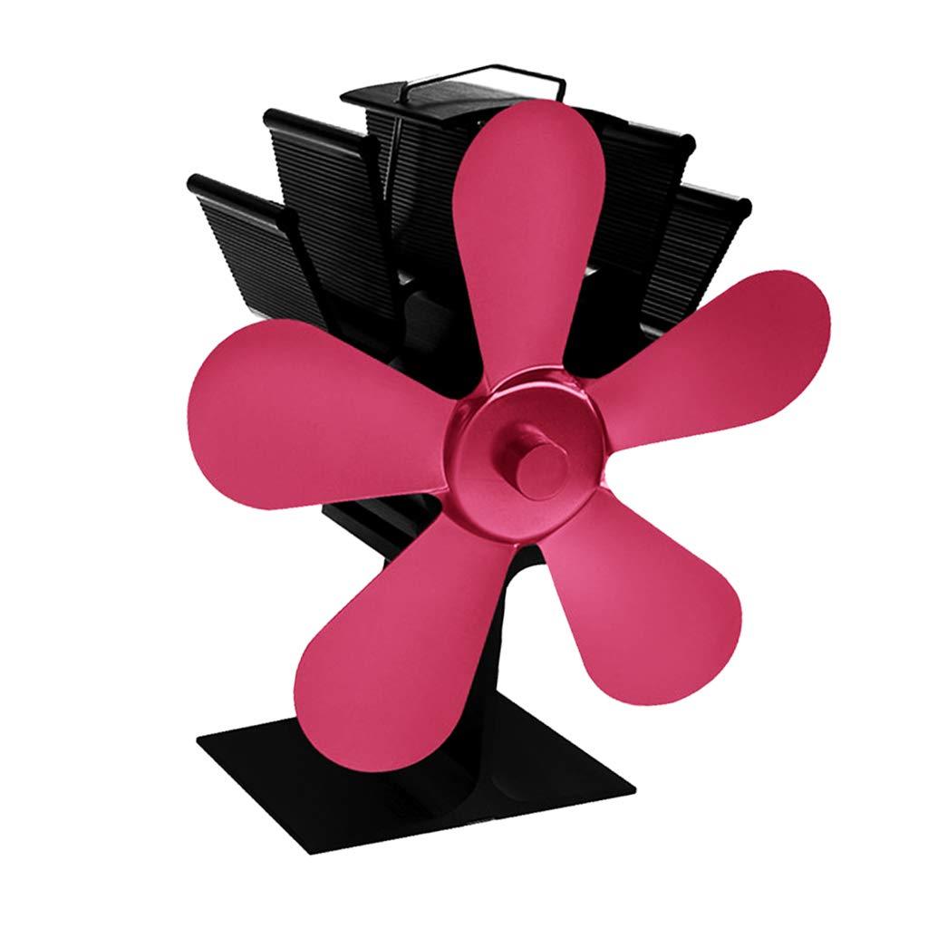 Rose Rot Fenteer Stromloser Hitzebetriebener 5 Fl/ügel Ventilator Ofenventilator f/ür Holzofen Kamin /Öfen