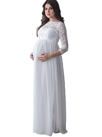 Ikerenwedding Women\'s Sleeves Lace Chiffon Empire Waist Maternity ...