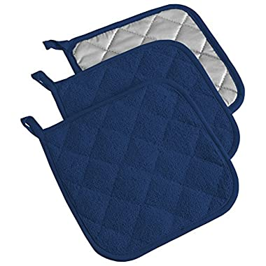 DII 100% Cotton, Machine Washable, Heat Resistant, Everyday Kitchen Basic, Terry Pot Holder, 7 x 7 , Set of 3, Nautical Blue