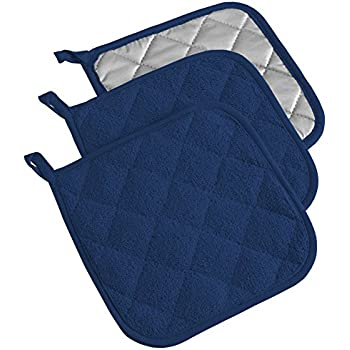 DII 100% Cotton, Terry Pot Holder Set Machine Washable, Heat Resistant, 7 x 7, Nautical Blue, 3 Piece