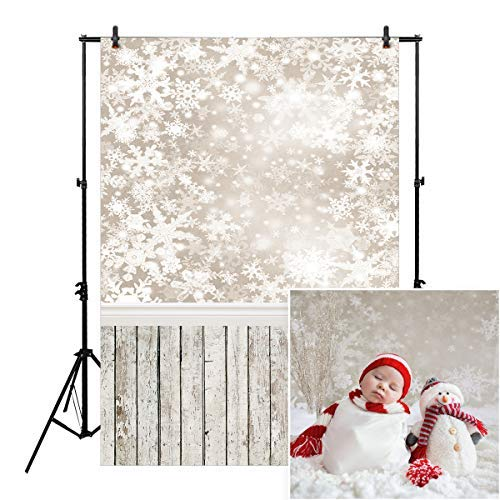 Allenjoy 5x7ft Christmas Holiday Snowflake Backdrop for Photographers Photography Pictures Winter Frozen Snow Wood Background Newborn Baby Children Family Portrait Photo Studio Booth -