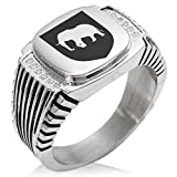 Two-Tone Stainless Steel Elephant Strength Coat of Arms Shield Engraved Clear Cubic Zirconia Ribbed Needle Stripe Pattern Biker Style Polished Ring, Size 9