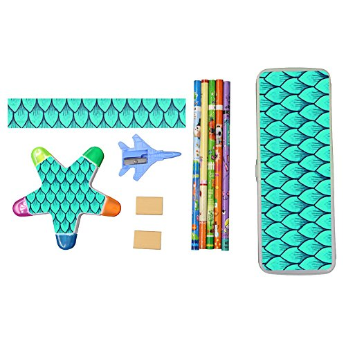 Mermaid Scales Green Leaf Stationery Set with Plastic Pencil Case, Eraser, Marking Pen, Ruler, Penknife for Kids and Students Hot Party Favors -