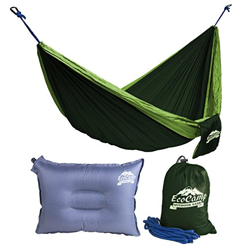 EcoCamp Portable Camping Hammock Single & Double - Lightweight, Heavy-Duty, Parachute Nylon-Easy Hanging Outdoor Hammock - Free Bonus Pillow & eBook - for Backpacking, Travel, The Beach, Your Backyard