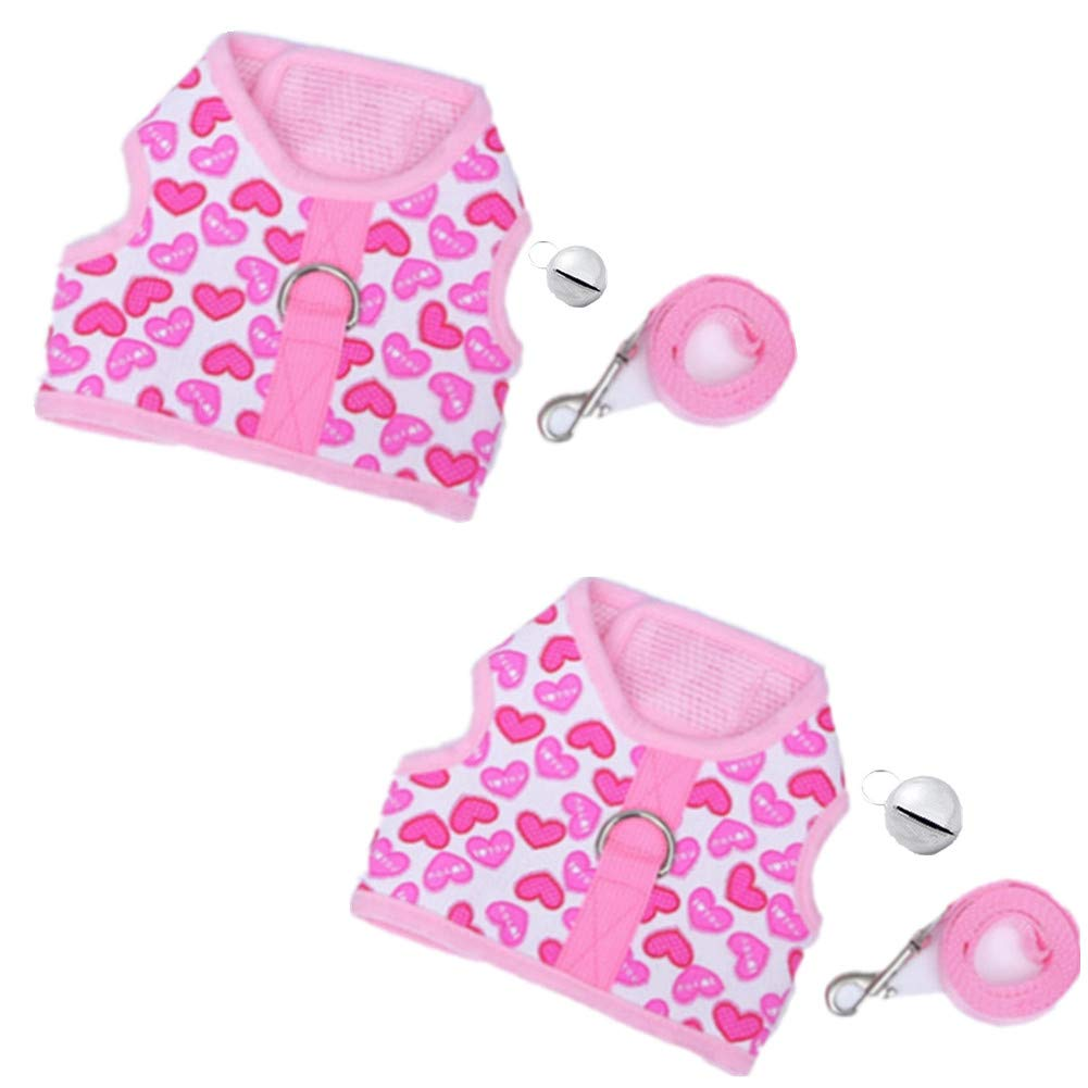 Fully 2 Sets Pet Harness Vest Leash with Bell Ajustable for Bearded Dragon Guinea Pig Ferrets Rabbits Cats (Size S: Chest : 14-22cm/5.51-8.66'', Pink)