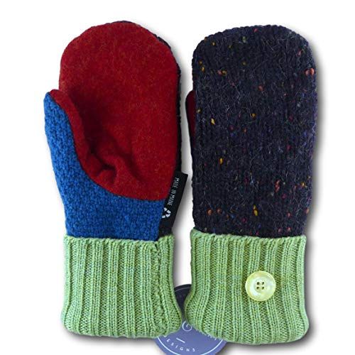 Jack & Mary Designs Handmade Kids Fleece-Lined Wool Mittens, Made from Recycled Sweaters in the USA (green/red/brown, Large)