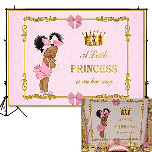 Mehofoto Royal Baby Shower Backdrop Little Princess Pink Bow Photography Background 7x5ft Vinyl Royal Pink Girl's Baby Shower Party Banner Backdrops