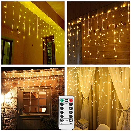 Battery Operated Snowing Icicle String Lights Outdoor,9.8ft Width,150 LED,Warm White Window Wall Wave Curtain Lights for Holiday Wedding Backdrop Christmas-Remote,Timer,Dimmable,8 Mode,Waterproof [並行輸入品]   B07R9RQH7V
