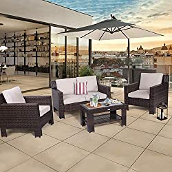 Diensday Outdoor Furniture 4-Piece Conversation Set All Weather Brown Wicker Deep Seating with Beige Waterproof Olefin Cushions & Sophisticated Glass Coffee Table | Patio, Backyard, Pool, Porch