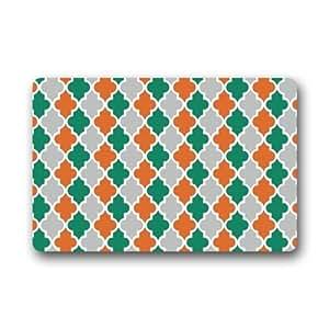 Quatrefoil Orange Turquoise Grey and White Lattice Top Fabric & Non-Slip Rubber Clearance Doormats Door mat 23.6 x 15.7 Inch