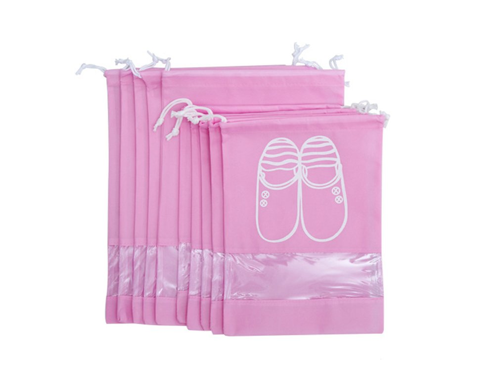 YUMMAYEE 10 Pcs Dust-proof Shoe Bags Drawstring with Window Travel Shoe Storage Bags Shoes Organizer Pink