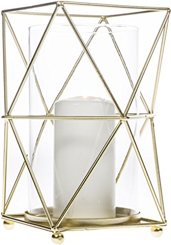 Sparkling Gold Hurricane Candle Holder, Geometric Polyhedron Metal Wire with Glass Insert for Votive Candlestick. Ideal for Tea Light Table Centerpieces, Wedding Banquet, Party & Classic Patio - Wire Gold Glass