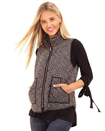 PREPPY DOLL Women's Herringbone Print Vest with Zipper (Small)