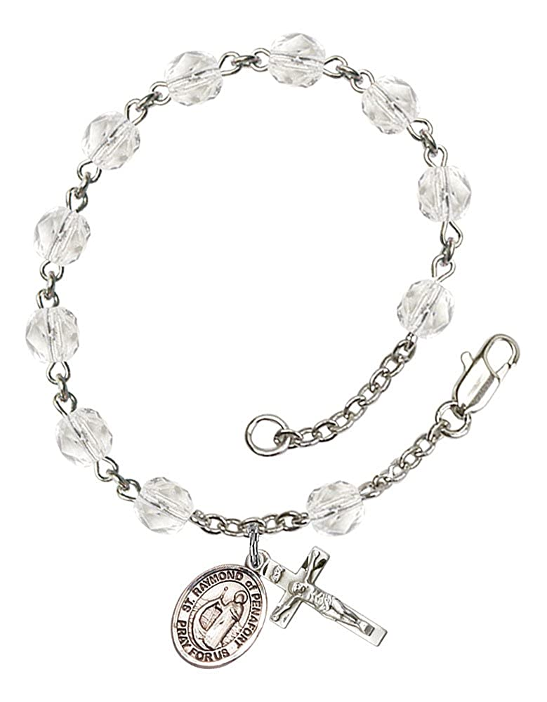 Silver Plate Rosary Bracelet Features 6mm Crystal Fire Polished Beads The Charm Features a St The Crucifix Measures 5//8 x 1//4 Raymond of Penafort Medal Patron Saint Baristers//Attorneys