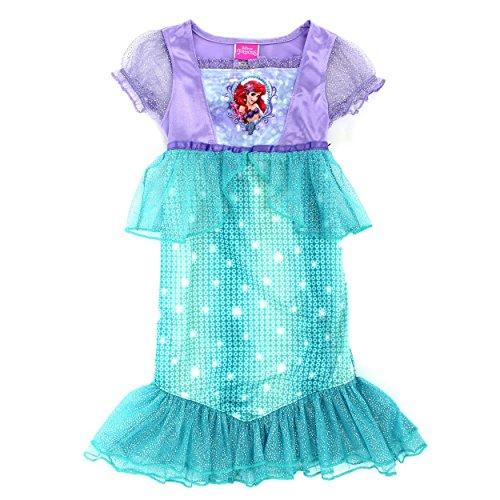 [Disney Princess Girls Fantasy Nightgown Pajamas (2T, Ariel Mermaid Costume Green)] (Ariel Costumes Toddler)