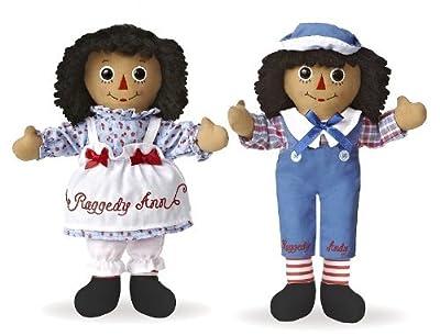"Raggedy Ann & Andy 12"" Classic Brunette Dolls by Aurora / Ethnic / Black / African American"