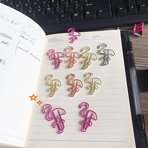 Paper Clips Flamingo Paper Clip Cute Animal Shape Bookmark Clips Metal File Note Clips Page Marker for Office School Supplies (50 Counts) (Pink) by Rich Boxer (Image #4)