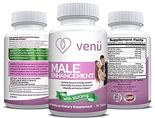 Venu Beauty Male Enhancement Pills – Maca Root, L-Arginine & Tongkat Ali Powder Tablets Provide Natural Hormonal Balance, Stamina & Energy Supplement for Both Men & Women, 60 Tablets (1850mg)