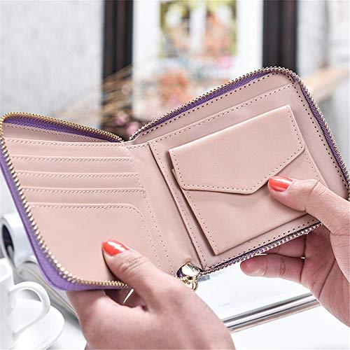 Color Pink Pendentif Mince rabbit Little Pompon Purple Coin léger Lady Zero Lovely Pure Slim Wallet et Ow8fx6q