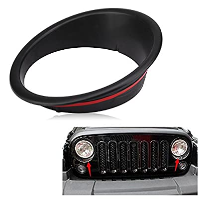 Front Headlight Bezel Cover- Keenso Angry Bird Type Big Eye Headlight Bezels Cover Trim ABS for Jeep Wrangler JK 2007-2020 (Black): Automotive