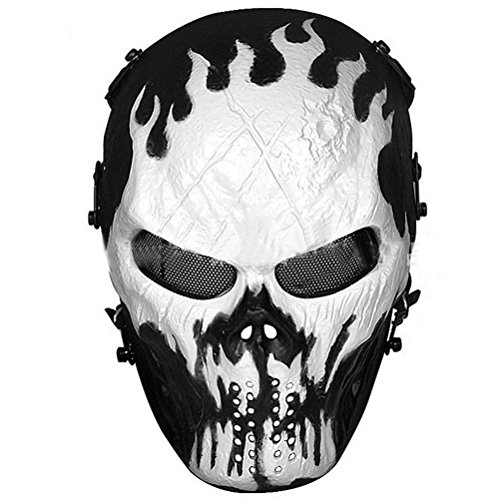 Masque Ball Costumes (Homeditor Halloween Skull Mask Tactical Airsoft Mask with Metal Mesh Eye Protection for Halloween,Costume Party,Paintball,Outdoor Hunting and CS War Game (Devil Fire))