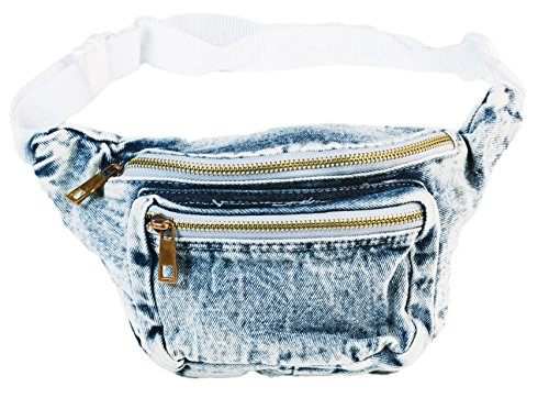 Funny Guy Mugs Premium Jean Fanny Pack - Retro Denim Acid Wash Jean Fanny Pack
