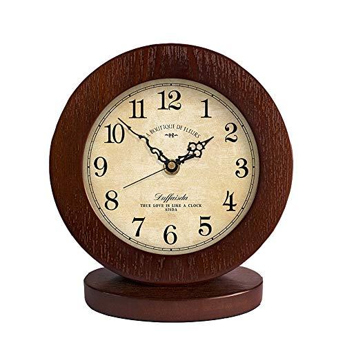 QIAOSHI Mantle/Desk Clock Mantle Clock/Living Room American Simple Solid Wood Clock Mute Modern Bedroom Clock Retro Sitting Clock Pendulum ()