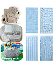4 Piece Tree Bark and Brick Wall Impression Mat, Cobblestone & Stone Wall Design Cake Decoration Mold Embossed Baking Tool for Chocolate Icing Sugar
