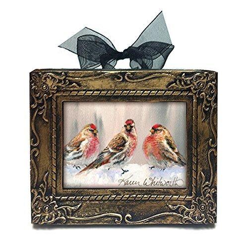 Handmade Antique Style Mini Eyeing The Feeder Alaskan Redpolls In Winter Art Desk or Tree Ornament by Karen Whitworth