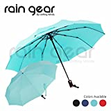 Rain Gear Folding Umbrella: Windproof, Automatic Handle & Carrying Pouch, Compact, Portable Size for Travel in Handbags or Car Use (Sky Blue)
