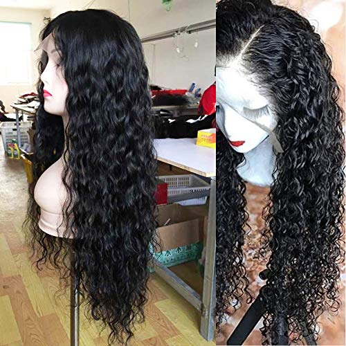 (Andria Curly Hair Lace Front Wigs Natural Curly Synthetic Long Wigs Heat Resistant Fiber Hair for Black Women 24 Inch Curly Black Color)