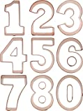 Number Cookie Cutter Set, in solid copper, by CopperGifts.com