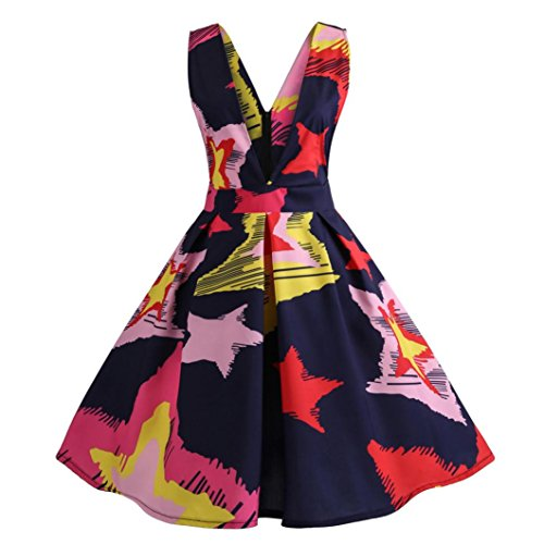 HARRYSTORE Ärmelloses VAusschnitt Floral bedrucktes Vintage Kleid ...