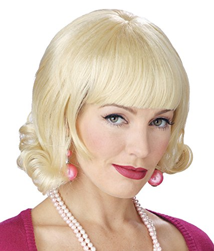 UHC Women's 50s Flip Style Polyblend Blonde Wig Halloween Costume (Cheap 50s Style Costumes)