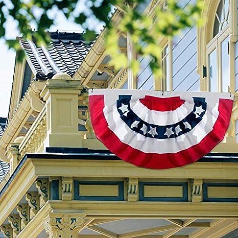 Bandera de abanico plisada americana Banderas americanas de la decoración del empavesado de los EEUU Banner de medio fan Estrellas patrióticas y rayas cosidas con encabezado de lona y ojales de latón: