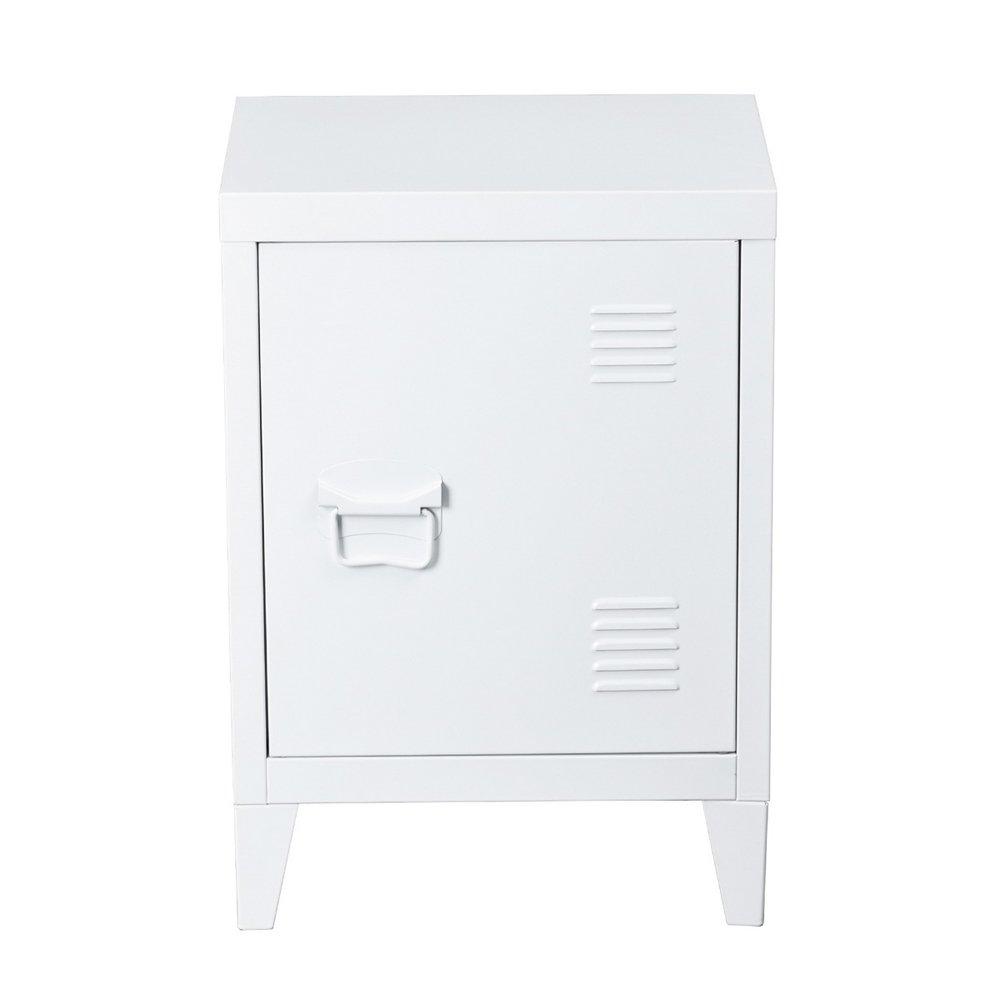 HouseinBox Metal Locker Organizer Side End Table Office File Storage 2 Shelves Detachable 4 Legs,Size:15.9'' x 12'' x 22.6'',White