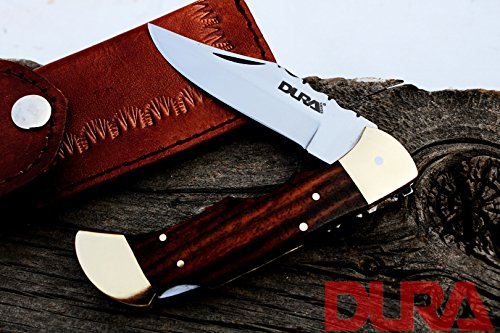 DURA KNIVES Dk-54 Rose Wood 4.5'' inches Folded Buck Folding Custom Handmade stainless Steel Blade Pocket Knife 100% Prime Quality Plus Beautiful Brass Bolster LIMITED EDITION