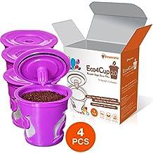 Eco4Cup 2.0 Reusable K Cup for Keurig 2.0 - K300, K400, K500 Series and All Keurig 1.0 Series - 4 pcs