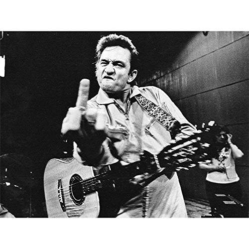 Johnny Cash Middle Finger 3D Poster Wall Art Decor Print | 11.8 x 15.7 | Lenticular Posters & Pictures | Memorabilia Gifts for Guys & Girls Bedroom| Walk The Line Vinyl Classic Rock Country Music (Johnny Cash Flipping)