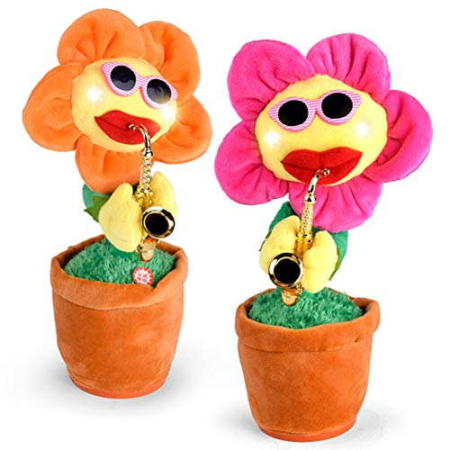 Balai Musical Jumbo 72 Songs and Singing Dancing Saxophone Sunflower Soft Plush Potted Funny Creative Electric Toys Stuffed Toy Animated Flower Doll Light Music Gift for Kids and Adults(Random Color)